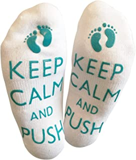 'Keep Calm And Push' Funny Labor Socks For The Mummy To Be