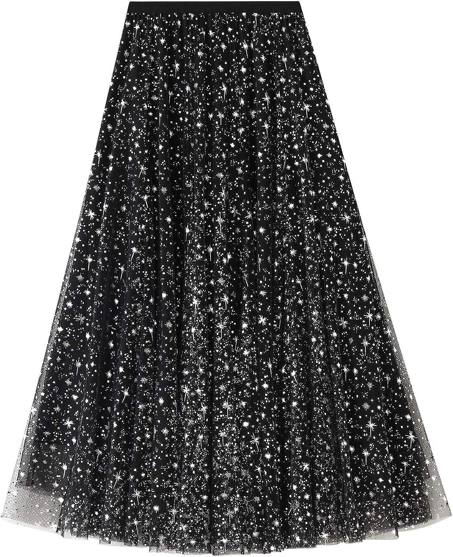 Women Starry Sky Mesh Tutu Skirt, Sequin Glitter Layered Tulle Maxi Skirt A-Line Party Skirt Dress