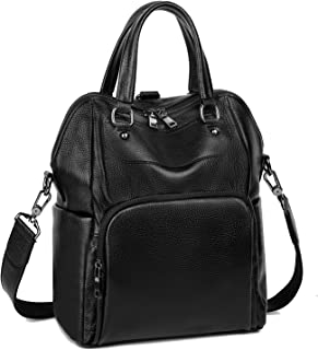 YALUXE Women's Leather Backpack Purse Crossbody Shoulder Bag Ladies Convertible Rucksack for Women Black