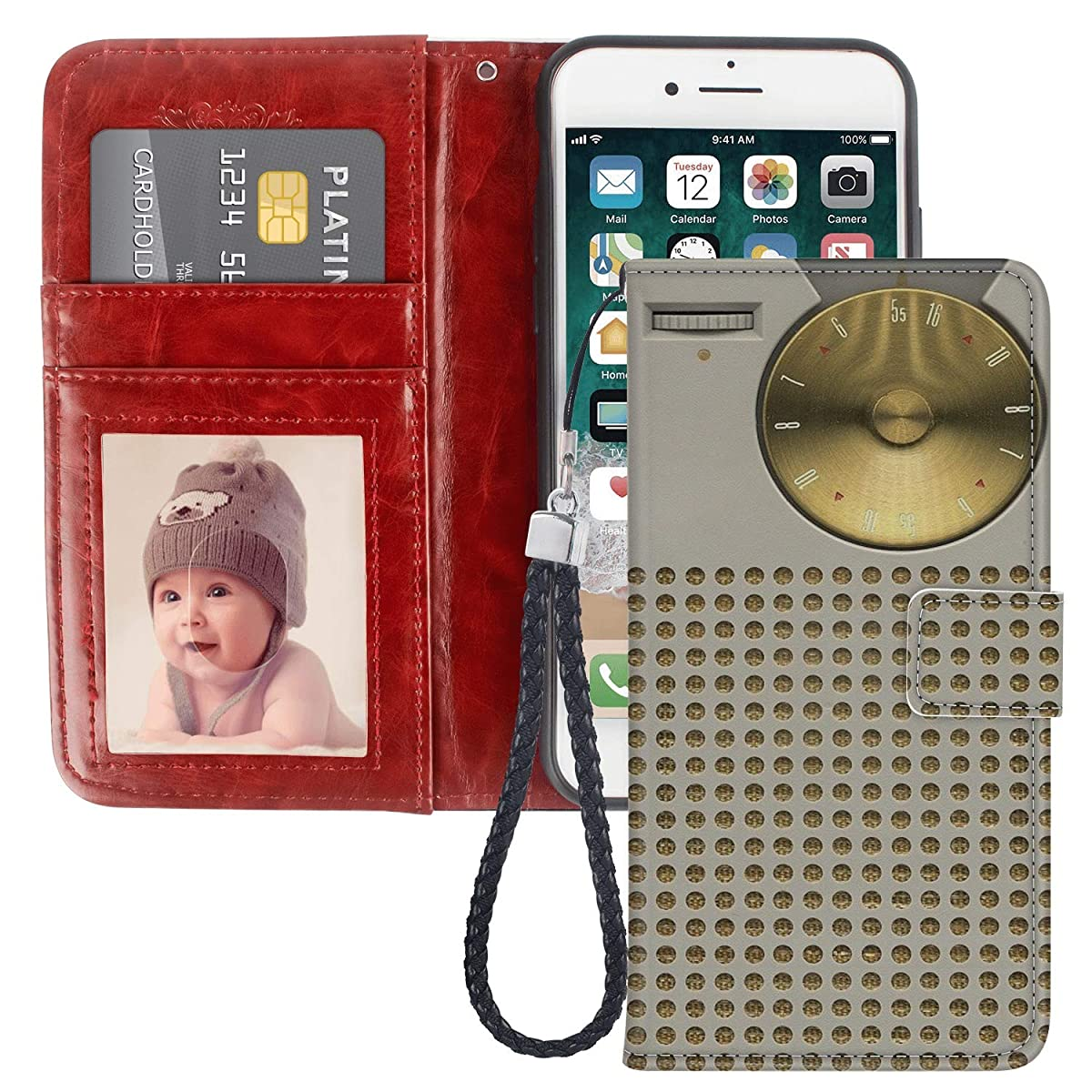 Retro Radio iPhone 6S Plus Wallet Case PU Leather Black TPU Phone Case with Credit ID Card Slots Gift Wrist Strap Purse Case for iPhone 6 Plus
