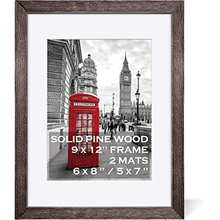 9x12 Rustic Picture Frames Wood Driftwood Brown Display Pictures 6x8 or 5x7 with Mat or 9x12 without Mat - Farmhouse Distressed Photo Frame for Art with 2 Mats Wall Mounting ,Table Top - Set of 1