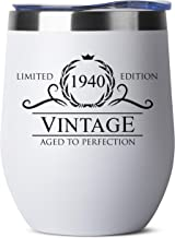 1940 80th Birthday Gifts for Women Men - 12 oz White Insulated Stainless Steel Tumbler w/Lid - Vintage 80 Year Old Best Gift Present Ideas for Him Her - Tumblers Party Decorations Supplies Presents