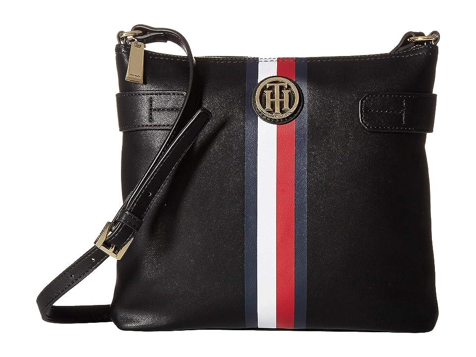 Tommy Hilfiger Tami Large North/South Crossbody (Black) Handbags