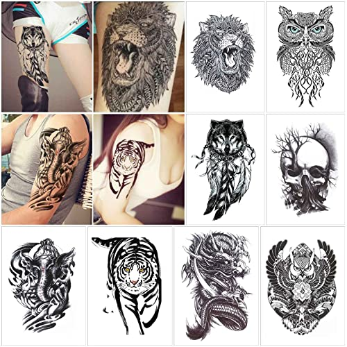 d9b00cb15 COKOHAPPY 8 Sheets Large Temporary Tattoo Half Arm Extra Sleeve Elephant,  Dead Skull, Lion