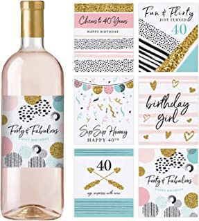 40th Birthday Wine Bottle Labels, Set of 6 Waterproof Labels, Birthday Gifts For Her, 40th Birthday Party Decorations, Ideas and Supplies