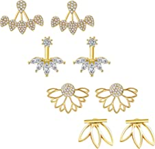 JieyueJewelry 4 Pairs Lotus Flower Earrings Stud Jacket Earrings Simple Chic Earrings Back Cuffs Stud Earring sets for Women Girls