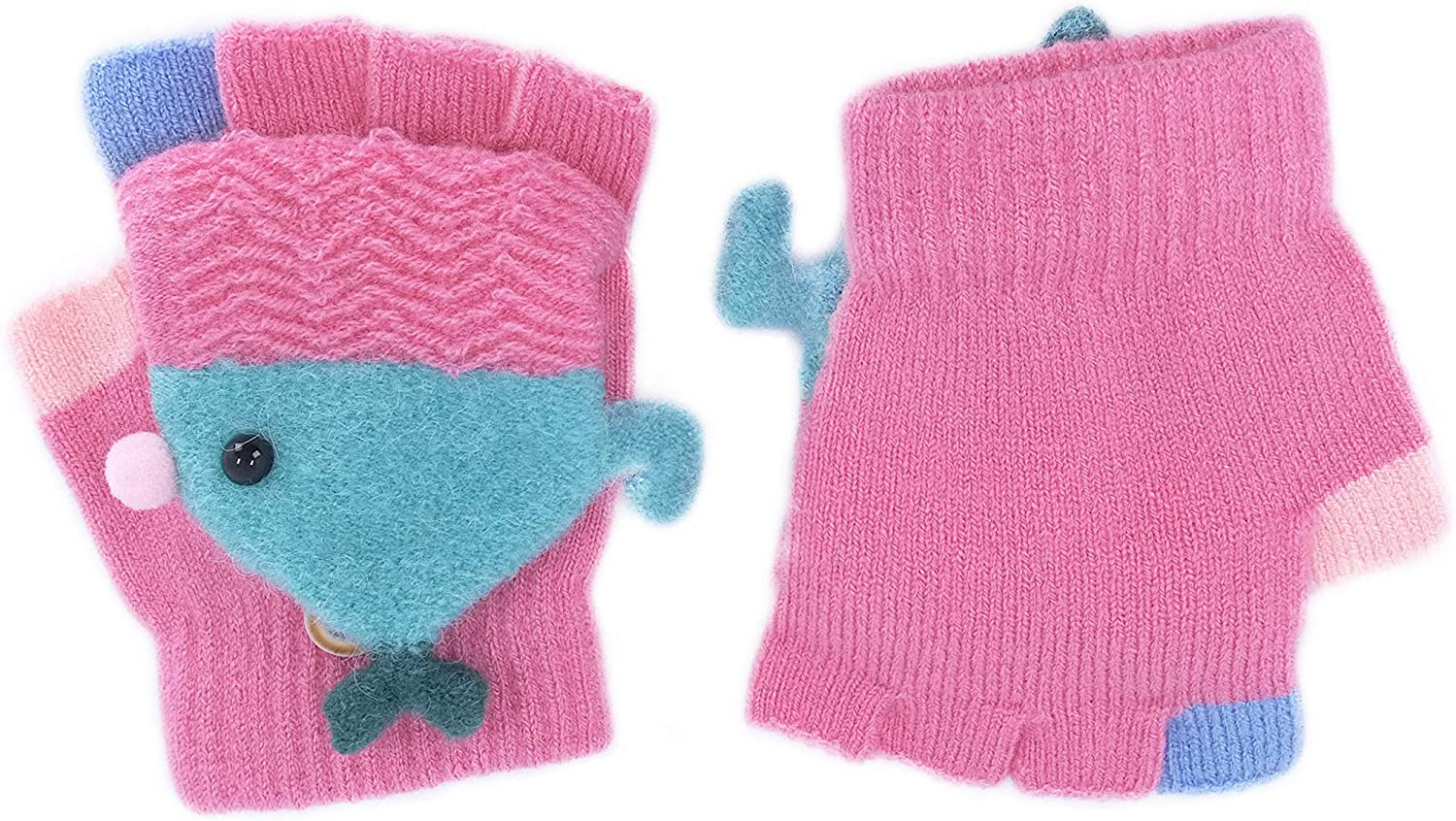 Ortoluckland Winter Jacquard Knitted Wools Gloves Cute Bird Style Stretchy Mitten for Toddler Kids