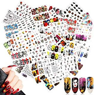 48 Sheets Halloween Nail Art Stickers Decals,MWOOT Water Transfer Skull Bat Ghost Pumpkin Spider Stickers Set for DIY Nail Tips Decoration