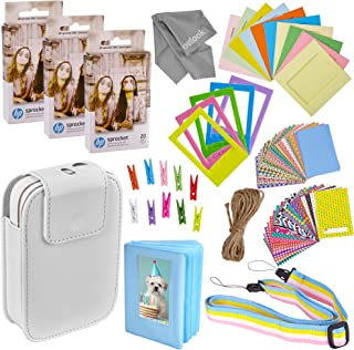 $52 » Zink Photo Paper and Frames Kit – 60 Pack - Sticker Paper for HP Sprocket 2-in-1 Portable Printer - Sticky 2x3 Sheets for Printing Pocket Size Phone Pictures - with Photo Album, Case, Frames, Clips