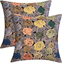 JSBYY Flower Throw Pillow Covers Color Rose Decoration Cushion Cover 18x18 Inch Set of 2