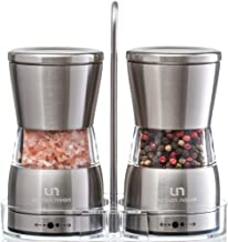Premium Salt and Pepper Grinder Set - Stainless Steel Mills with Stand in Luxurious Gift-Box - Shakers with Ceramic Grinders and Adjustable Coarseness - Bonus: eBook