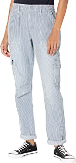 Dickies Factory Roll Cuff Cargo Pants w/Elastic Back Waist Hickory Stripe Relaxed Fit