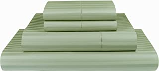 Threadmill Home Linen 600 Thread Count 100% Cotton Sheets, 1CM Damask Stripe Beige, ELS Cotton Bed Sheets, Sateen Fits Mattress Up to 18'' Deep Pocket (Queen, Damask Sage)