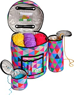 Knitting & Crochet Bag with Accessories - Water Resistant & Tangle-Free Yarn Storage Tote, Crocheting Supplies Organizer & WIP Project Holder with Clear Pocket - Sturdy & Lightweight - Set of 3
