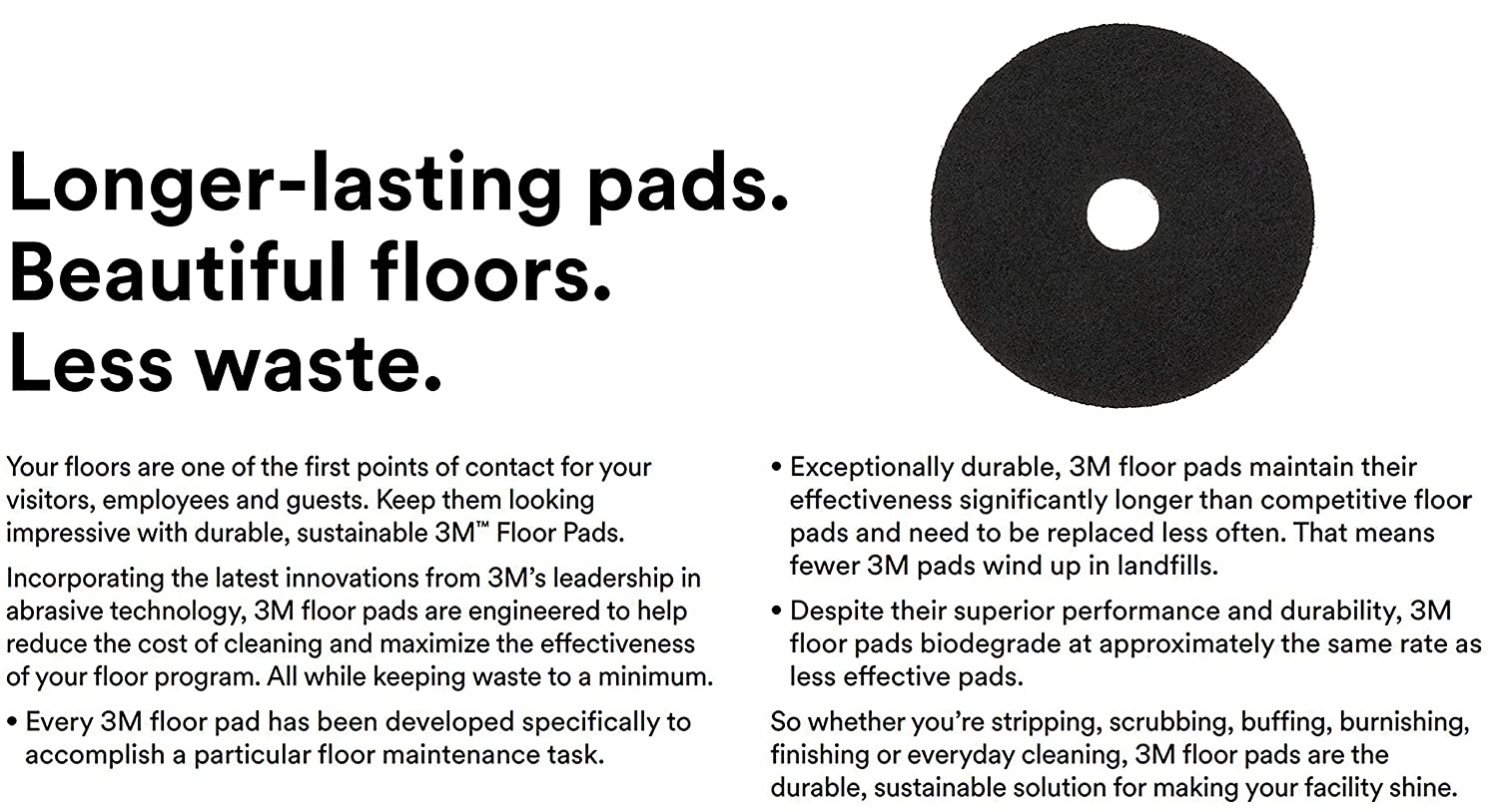 12 INCH BLACK FLOOR PADS FOR CLEANING AND STRIPPING FLOORS.
