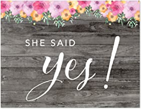 Andaz Press Wedding Party Signs, Rustic Gray Wood Pink Floral Flowers, 8.5x11-inch, He Asked, She Said Yes! Engagement Save The Date Photoshoot Signs, 2-Pack, Unframed