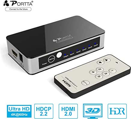 4K HDMI Switch, Portta 5 Port V2.0 Premium Switcher with IR Remote Control Supports Ultra HD 3D 4K@60Hz 4:4:4 HDCP2.2 HDR for PS3/4/4 PRO/Xbox One/Blu-ray Player/Roku/Fire TV and More