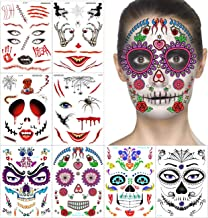 Halloween Temporary Face Tattoos Kit - 2019 Cool Designs, Full Face Sugar Skull Tattoos, for Halloween and Day of the Dead, Easy to Apply and Remove