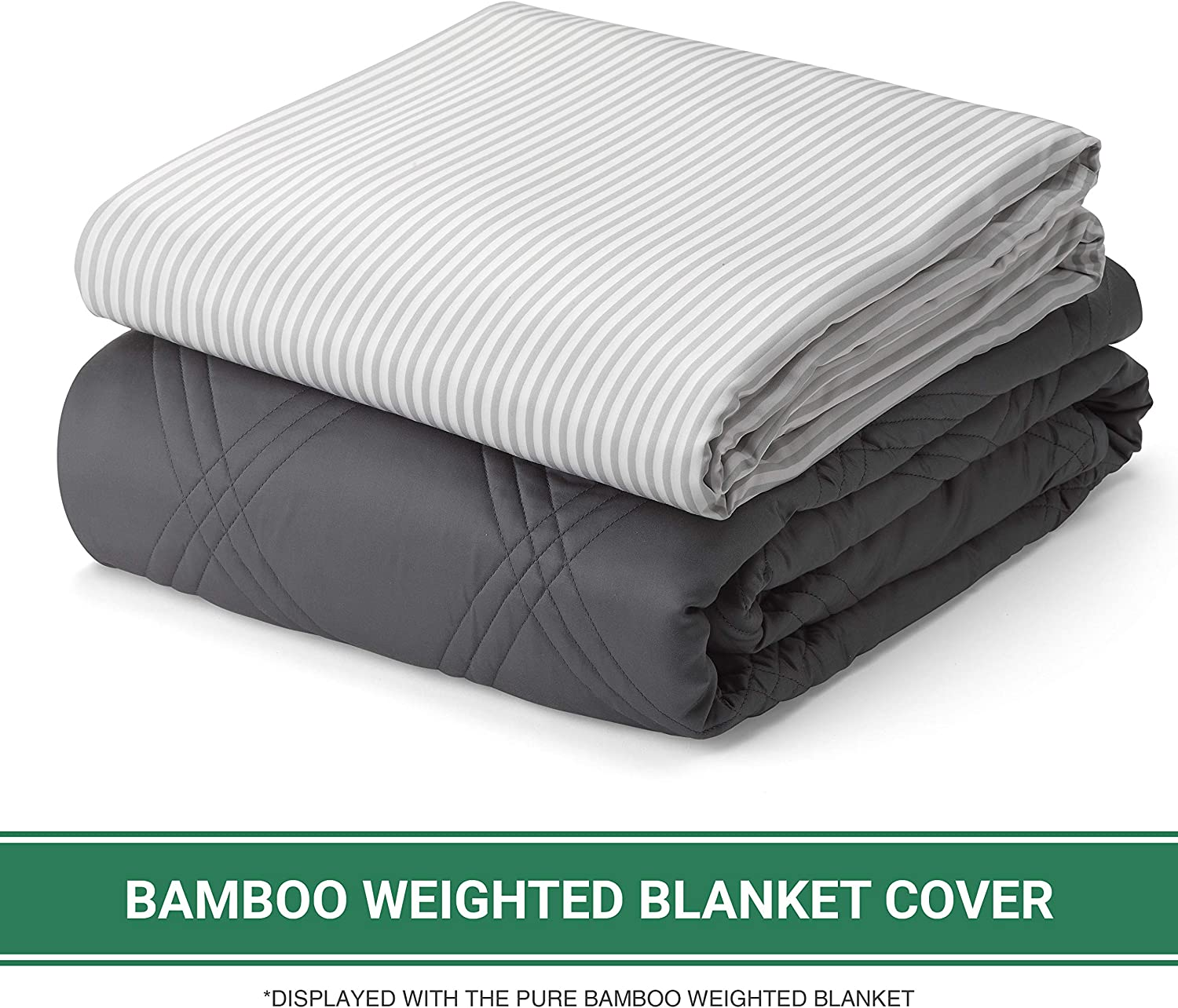 Pure Bamboo – Queen Weighted Blanket Cover 60x80 – 100% Organic Bamboo Viscose Blanket Duvet Cover with 8 Snaps
