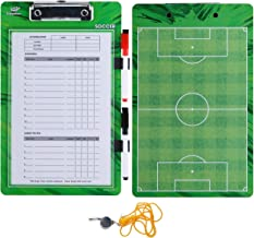 Soccer Coaches Dry Erase Clipboard – Double Sided Lineup Coach Whiteboard Bundled with Whistle and Dry Erase Markers – Coaching Equipment Playbook Board Gear - Great Tools for Coaching Tactics