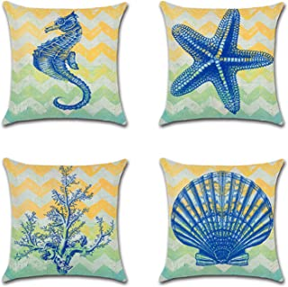 Set of 4 Coastal Theme Seahorse Decorative Throw Pillow Covers 18 X 18 Inch Cotton Linen Square Cushion Covers for Sofa Outdoor Pillow Case