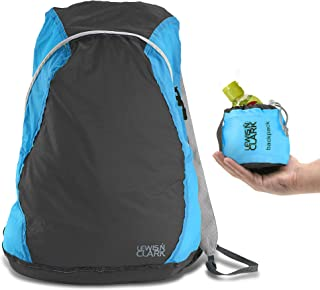 Lewis N Clark ElectroLight Multipurpose Travel Lightweight Backpack for Women + Men Packable Daypack, Hiking Camping, Ditty Bag, Charcoal/Bright Blue