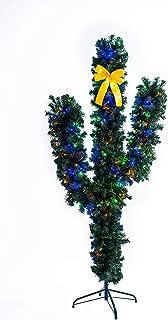 GOJOOASIS 6' Cactus Christmas Tree Pre-Lit Artificial Xmas Tree w/LED Lights and Bowknot