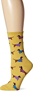 Socksmith Womens Yellow Haute Dog Crew Socks,One Size Fits Most