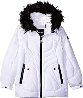 DKNY Girls' Bubble Jacket with Faux Fur