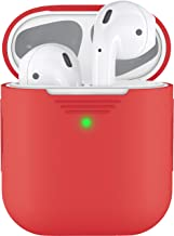 PodSkinz AirPods 2 & 1 Case [Front LED Visible] Protective Silicone Cover and Skin Compatible with Apple AirPods (Without Carabiner, Lava Red)
