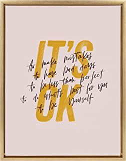 Kate and Laurel Sylvie It's Ok Framed Canvas Wall Art by Maja Tomljanovic, 18x24 Gold, Motivation Art for Any Home, Studio...