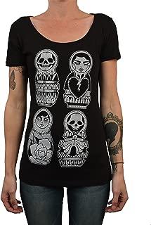 Women's Russian Dolls by Matt Pettis Skull Nesting Matryoshka Tattoo T-Shirt Top
