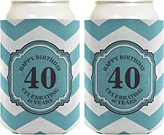 40th Birthday Gifts For All Beer Coolie Celebrating 40 Years Chevron 2 Pack Can Coolie Drink Coolers Coolies Premium Full Color