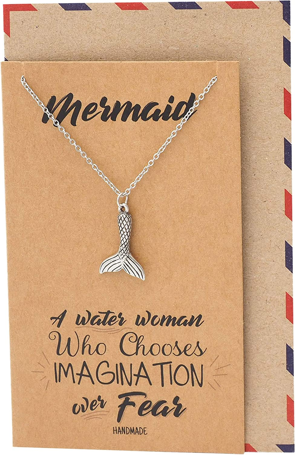 Quan Jewelry Mermaid Tail Pendant Necklace, Gifts for Mermaid Lovers, Beach Themed Collar Charm, Gifts for Women and Ocean Lovers for Special Occasions with Inspirational Quote on Greeting Card