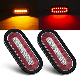 Tinpec 2PCS Oval LED Trailer Tail Lights with 23 LED Bulbs Waterproof Stop Brake Lights with Rubber Grommet Universal Backup Reverse Lights for Trailers Trucks RVs (Red and Yellow)