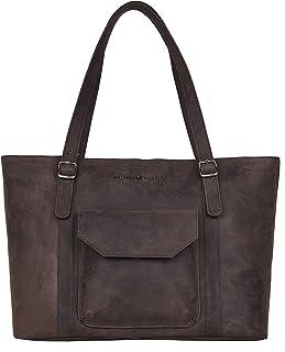 Antonio Valeria Sage Leather Tote/Top Handle Shoulder Bag for Women