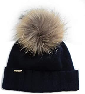 Frost Hats Chic and Classy Cashmere Beanie Hat for Women with Detachable Genuine Fox Fur Pom CSH-804RN