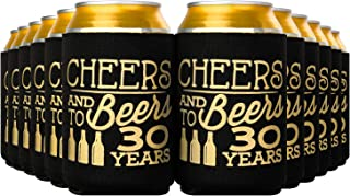 Crisky 30th Birthday Beer Sleeve,Cheers and Beers to 30 Years Birthday Decoration Party Favor Can Covers, 12-Ounce Neoprene Coolers for Soda, Beer, Can Beverage, 12 Pcs