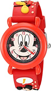 Disney Boys Mickey Mouse Analog-Quartz Watch with Plastic Strap, red, 16 (Model: WDS000392
