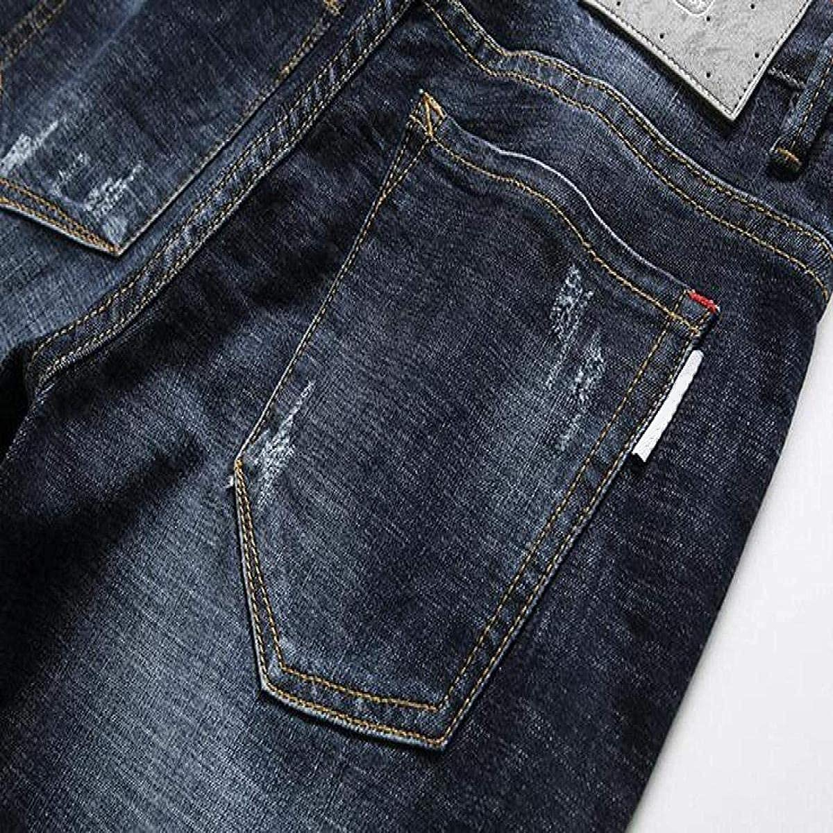 Men's Ripped Denim Shorts Mid-Waist Stretch Slim-fit Classic Five-Pocket Zipper