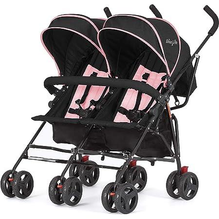 Dream On Me, Volgo Twin Umbrella Stroller, Pink (446-PNK), 24 pounds