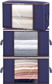 Lot de 3 sacs de rangement à vêtements avec poignée renforcée, pliables de 90 L, grande capacité, en tissu non tissé épais...