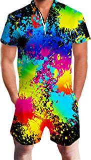 Leapparel Men Printed One Piece Jumpsuit Button/Zip Short Sleeve Pants Rompers Overalls