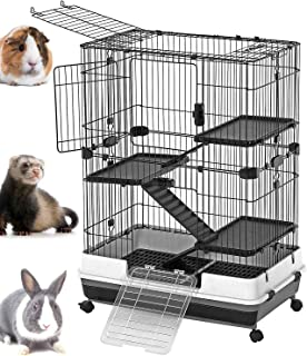 Mcage Large Luxury Indoor/Outdoor Guinea Pig Chinchilla Ferret Squirrel Rabbit Bunny Hutch House Small Animal Critter Habitat Casters