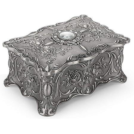 Gift for her Trinket box Gold ornament jewelry storage box Home decor Small Keepsake \u0422reasure box Vintage Metal jewellery box