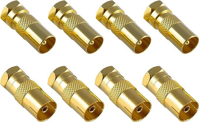 Poppstar 8X Adaptador coaxial para Cable de Antena (4X Conector F Macho a CEI Macho, 4X Conector F Macho a CEI Hembra), Acoplamiento coaxial, Dorado