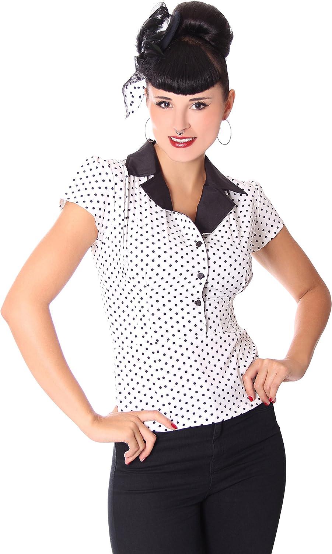 SugarShock Damen Blause Missy Polka Dots Blausen Shirt, Größe S, Farbe Weiss B07848GL2X  Einfach zu bedienen