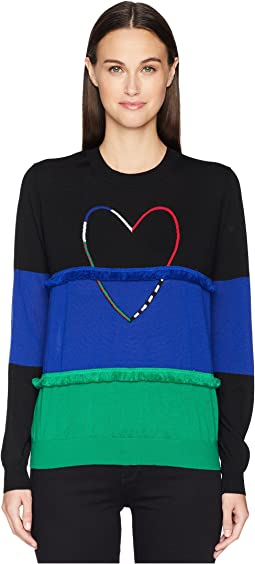 Heart Color Block Sweater