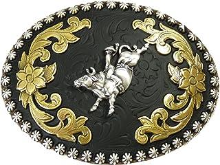 Nocona motif rod/éo sur taureau style western//cowboy Boucle de ceinture fabriqu/é aux /États-Unis noir//or