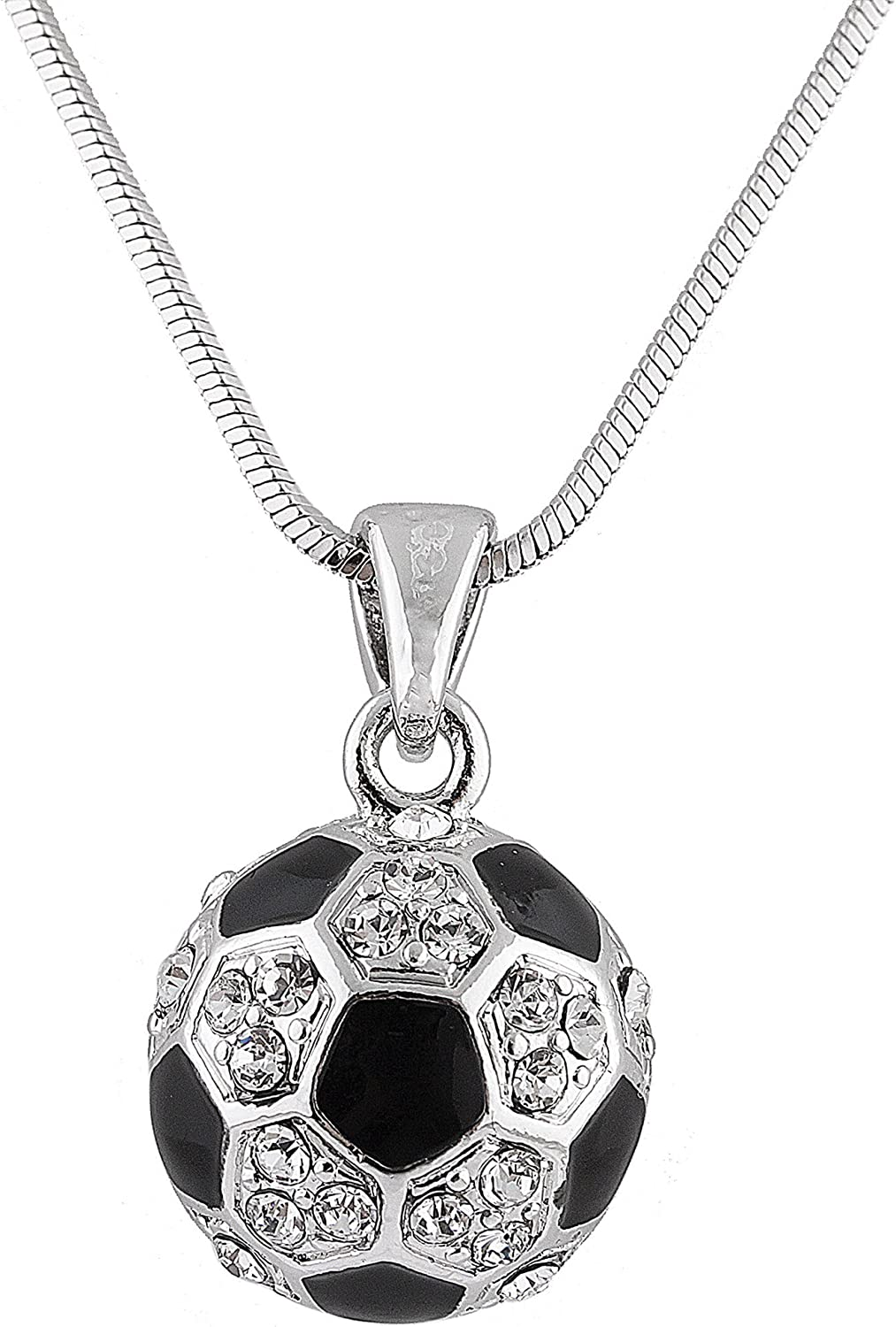 JOTW Silvertone with Black Genuine Free Shipping White Out Ball Limited Special Price Iced Soccer Pendant
